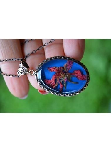 Stoneage Yaşayan Kolye Gerçek Kuru Çiçek Mavi